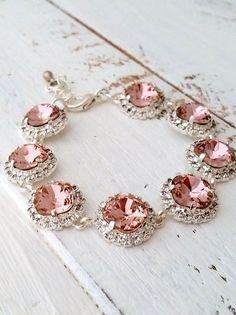 Blush braceletblush pink crystal braceletBlush by EldorTinaJewelry