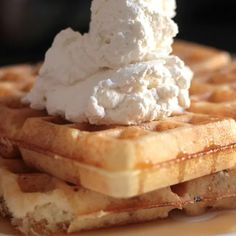 Lavender Waffles with Honey Bourbon Whipped Cream Recipe Bourbon Whipped Cream Recipe, Vanilla Whipped Cream, Lavender Shortbread, Honey Bourbon, Recipes With Whipping Cream, Creamed Honey, Dry Yeast, Brunch Recipes, Waffles