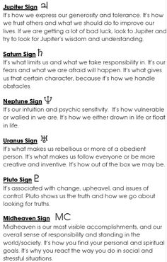 Jupiter Sign, Saturn Sign, Uranus Sign, Neptune Sign, Pluto Sign, Mid-Heaven (MC) | #astrology