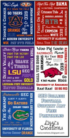 SEC College Football Free Printable Subway Art: Auburn, Alabama, LSU, Arkansas, and Florida