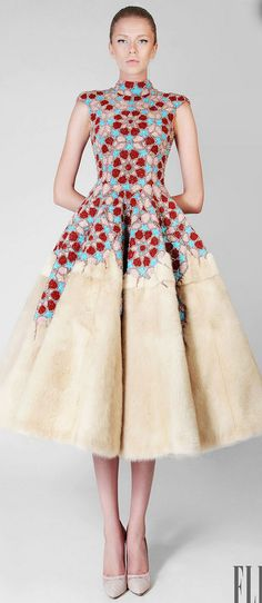Rami Kadi Couture 2014 | 1940's 1950's dress design inspiration | crochet style floral folk motif + feathered skirt