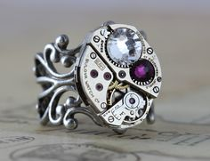 Steampunk Ring Giveaway from Inspired by Elizabeth Steampunk Rings, Nail Design Video, Mother Rings, Vintage Jewelry, Unique Jewelry, Personalized Jewelry, Handcrafted Jewelry, Jewelry Stores, Birthstones