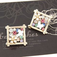 Lovable Gold Color Chrysanthemum Square Shape Alloy Stud #Earrings  www.asujewelry.com