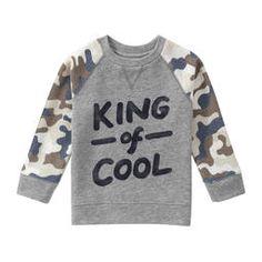 Toddler Boys' Contrast Sleeve Graphic Sweatshirt