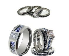 HIS 8mm TUNGSTEN AND HER STAINLESS STEEL BLUE CZ ENGAGEMENT AND WEDDING RING SET