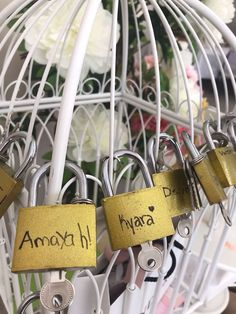 Personalized Locks and Keys from a Bonjour Paris Birthday Party on Kara's Party Ideas 15th Birthday Party Ideas, Paris Themed Birthday Party, Spa Birthday Parties, Bachelorette Parties, Paris Party Decorations, Paris Sweet 16, Parisian Party, Pamper Party, Partys