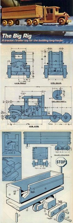 Wooden Toy Truck Plans - Wooden Toy Plans and Projects - Woodwork, Woodworking, Woodworking Tips, Woodworking Techniques Wooden Toy Trucks, Wooden Car, Wooden Toys, Woodworking Toys, Easy Woodworking Projects, Diy Wood Projects, Wood Toys Plans, Wood Plans, Diy Holz