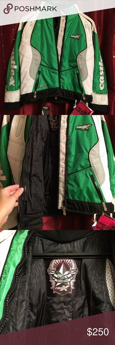 NWT Castle X Snowmobile/Winter jacket NWT Castle X Snowmobile/Winter jacket. Women's size small. It has several pockets to keep all your belongings. Kelly Green, White & Black. It is new with tags, the white part is a little dusty from hanging in the closet, should come out a washing, I didn't want to since it still had the tags attached. Super stylish. No rips or stains. Smoke free home. Please ask questions before buying. CastleX Jackets & Coats