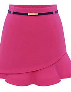 Women's+Solid+Blue/Red+Skirts+,+Sexy+Above+Knee+–+CAD+$+13.89