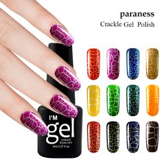 Paraness Colorful New fashion Crack Nail Gel Polish Cracking Gel Varnish Crackle semi-permanent Shatter Gel Polish Nail art #Affiliate