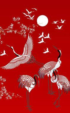 All Japanese Cranes Theme Pack Stencil - pochoir Japanese Drawings, Japanese Artwork, Japanese Painting, Japanese Prints, Chinese Painting, Chinese Art, Japanese Tattoos, Japanese Textiles, Bird Stencil