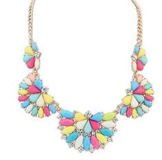 European And American Style Fan Bib Necklace Bright Multicolor Holiday