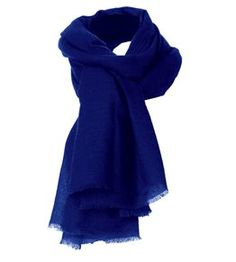 "Cashmere Gauze Stole in royal blue. This royal blue seems on photo not bright, but ""royal blues""  are ussualy shades clear/bright. The same name of colour can be more shades with different chroma."