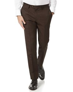 Chocolate Slim Fit Sharkskin Travel Suit Wool Pants Size by Charles Tyrwhitt Suit Pants, Trouser Suits, Suit Jacket, Shirt Tucked In, Charles Tyrwhitt, Suit Shop, Derby Shoes, Sweater Shop, Collar Styles