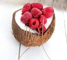 coconut with raspberries