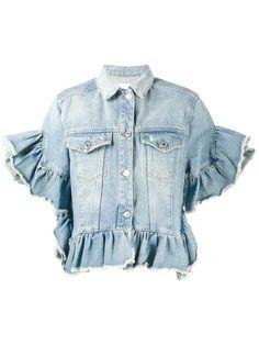 Shop MSGM ruffle-trimmed denim jacket.