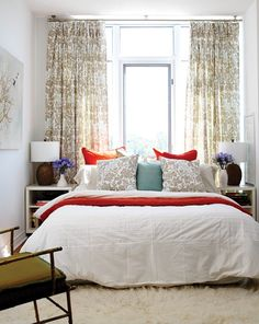 Soft & Elegant Bedroom Design Ceiling-height drapes and symmetrical decor visually expand this petite space. Condo Bedroom, Bedroom Decor, Master Bedroom, Bedroom Ideas, Bedroom Ceiling, Teen Bedroom, Bedroom Storage, Bedroom Inspiration, Bedroom Colors