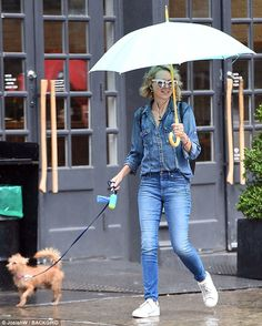 Stroll around town: The Twin Peaks star and her beloved Yorkshire Terrier dog Bob appeared...