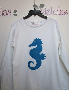 Camiseta patchwork seahorse