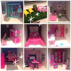 Sage's Dreamhouse. Made out of an ikea Expedit shelf.  Walls are covered with wrapping paper, chalkboard paint or scrapbook papers.  Furniture is a mix of handmade and bought items from Barbie, ikea and elsewhere!  Sage Leaf Studio 2013