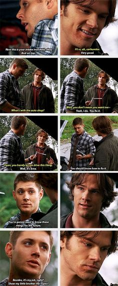 (gif set) 3x07 Fresh Blood     Dean Shows Sam How to Fix the Impala [I almost cried. Given the context, this scene was as touching as it was intensely haunting.]