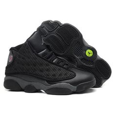 Jordan 13 Retro All Black Jays ❤ liked on Polyvore featuring shoes, s h o e s, jordans, sneakers and black