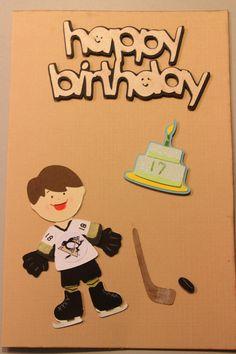 Hockey Happy Birthday Hockey Birthday, Hockey Party, Birthday Ideas, Birthday Cards, Happy Birthday, Card Ideas, Gift Ideas, Men's Cards, Tis The Season