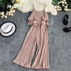 Khaki Pleated Wide Leg Pant 2 Pc Set Ruffled Crop Top + Wide-leg Ankle Pant Women Beach Sets Loose Two Piece Summer Set Indian Fashion Dresses, Girls Fashion Clothes, Teen Fashion Outfits, Girl Fashion, Girl Outfits, Rock Outfits, Emo Outfits, Punk Fashion, Cute Casual Outfits