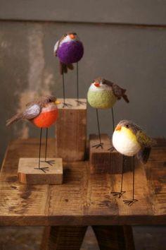 set of four felt birds with long legs-one each color