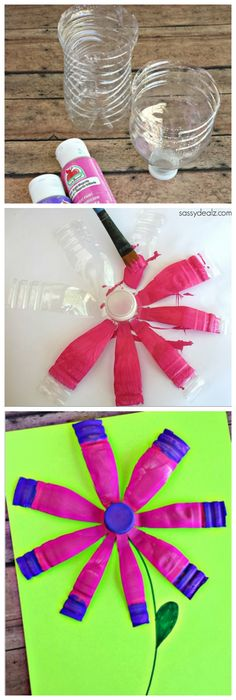 Have your kids use a recycled water bottle to make a pretty flower! #Spring or Summer flower craft for kids | CraftyMorning.com