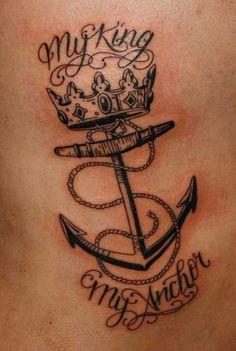 crown tattoo with anchor çapa ve taç dövmesi
