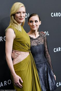 Actresses Cate Blanchett, left, and Rooney Mara attend the premiere of 'Carol' at the Museum of Modern Art on Monday, Nov. Rooney Mara Carol, Mara Sisters, Cate Blanchett Carol, Taurus, Unusual Dresses, Chef D Oeuvre, Hollywood, Girls In Love, Beautiful Actresses