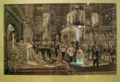 """""""The sacred anointing. Episode coronation of Emperor Alexander III and Empress Maria Feodorovna 15 May 1883"""" (engraving from the original J. Becker)."""