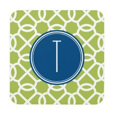 Lime Green & Blue Geometric Pattern Monograms Coaster