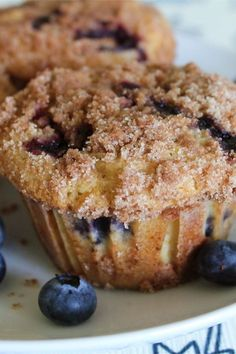 """""""These muffins are extra large and yummy with the sugary-cinnamon crumb topping. I usually double the recipe and fill the muffin cups just . Homemade Blueberry Muffins, Blueberry Recipes, Blueberry Bread, Blueberry Muffins Allrecipes, Recipes With Blueberries, Blueberry Oatmeal Muffins, Gluten Free Blueberry Muffins, Frozen Blueberries, Muffin Recipes"""