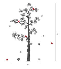 "Realistic Pine Tree With Birds tree Decals for Walls Stick on Wall art  SIZE 78"" H by 40"" W NOTE: size dimensions without flying leaves and birds  (For other sizes, contact US for a quote.)  DEFAULT COLOR for this listing -Pine tree Dark Gray -Birds Red -Pine needles mix dark gray and grey   ~~~~What's Included~~~~~ PineTree Decal Pine needles 5 Birds •FREE sample •Instruction of applying and removing •FREE installation tool (squeegee)  ★ COLORS SELECTION ★  All the colors in our color…"