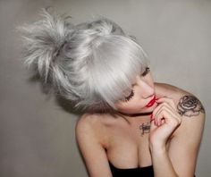 28 Gals Who Are Pulling Off Silver Hair-I've always thought a silver streak in my hair would be awesome! wish i was brave enough!