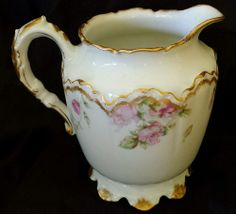 STUNNING RARE HAVILAND LIMOGES  39 D CREAMER WITH PINK ROSES  GOLD