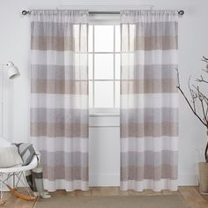 Bern Striped Sheer Rod Pocket Window Curtain Panel Pair Café - Exclusive Home : Target Mattress Furniture, Exclusive Home, Curtains, Panel Curtains, Rod Pocket Curtains, Rod Pocket Curtain Panels, Sheer Curtain Panels, Striped Curtains, Home Curtains