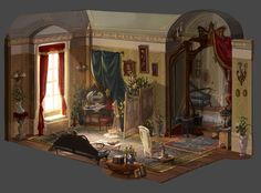 PHANTOM OF THE OPERA #17 Prima donna's Room (aka Christine's room) You can see a brief process of this HERE. I thought of Christine as a 'butterfly' trapped inside the Opera House(cage). Phantom wants to own her, or in a way 'collect' her. Prima...