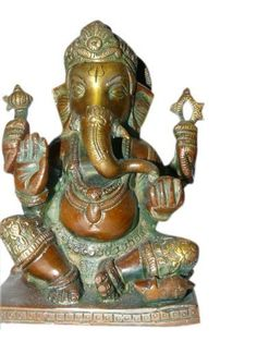 Sri Ganesha Statue Seated with Mouse Hindu God Brass Sculpture 6 Inches by Mogul Interior, http://www.amazon.com/dp/B00CHXK1JI/ref=cm_sw_r_pi_dp_SU9Mrb0D50HFQ