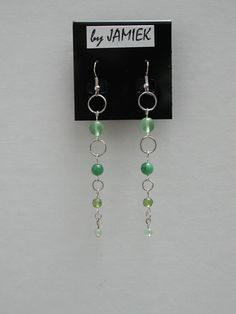Earrings Green Beads Ring Chain Dangle in Silver Tone or Gold Tone