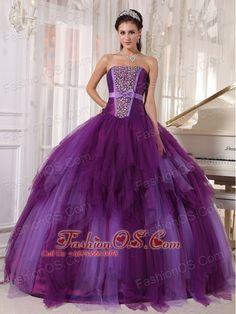 Elegant Purple Quinceanera Dress Strapless Tulle Beading Ball Gown  http://www.fashionos.com    quinceanera dress online store | colorful quinceanera dress |