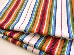 Tribal Fabric, Latin American, Navajo, Ethnic, Red Colorful Stripes, 1 meter x 0.75 meter / 1 yard x 0.8 yard. $13.75, via Etsy.
