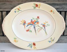 Vintage W.H Grindley&Co Ltd Ivory England Reg. nr 714550 'The Gay Macaw' pattern Serving Large Platter by LittlemixAntique on Etsy