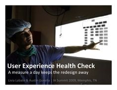 UX Health Check by Livia Labate and Austin Govella. A way to evaluate and monitor the UX of a product over time.