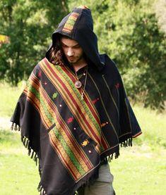 Black Poncho with Hood Kashmiri Wool, Earthy Tribal Pattern Festival Gypsy AJJAYA Mens Wear Winter Warm Primitive Nomadic Mexican pockets Nomad Clothing, Hippie Style Clothing, Revival Clothing, Hippie Outfits, Mens Poncho, Hooded Poncho, Wool Poncho, Ladies Poncho, Nomad Fashion