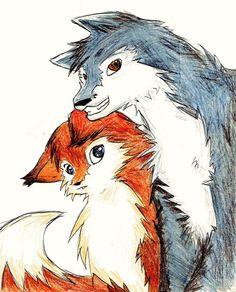 Red Fox and Blue Wolf (?) >w< Fox and Wolf Beautiful Dark Art, Animals Beautiful, Dove Drawing, Cartoon Wolf, Fox Crafts, Wolf Love, Anthro Furry, Fox Art, Amazing Drawings