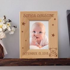 Baby Picture Frame Personalized, Birthday Photo Frame, Wooden Picture Frames 5x7, Gift for Babies by MarketingHills on Etsy Baby Picture Frames, Picture Frame Sets, Wooden Picture Frames, Baby Birthday Pictures, Birthday Photo Frame, Personalized Photo Frames, New Mums, S Pic, Baby Names