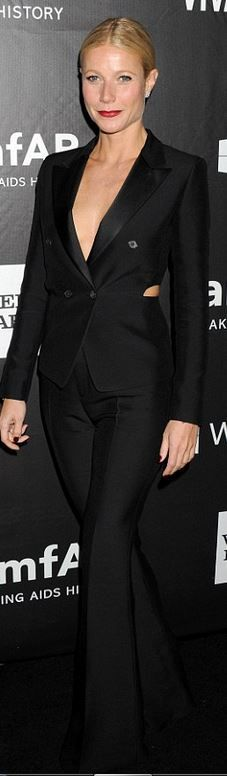 Who made Gwyneth Paltrow's black pants suit that she wore in Hollywood on October 29, 2014